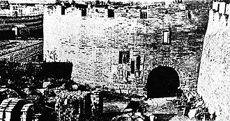 The dismantlement of Old City walls, 1911 Dismantlement of Old City walls.jpg