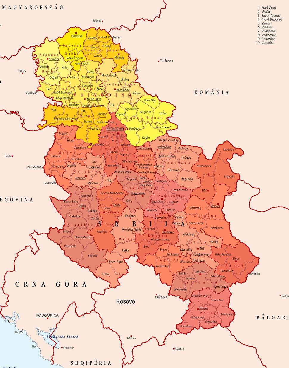 Districts and Municipalities of Serbia (without Kosovo)