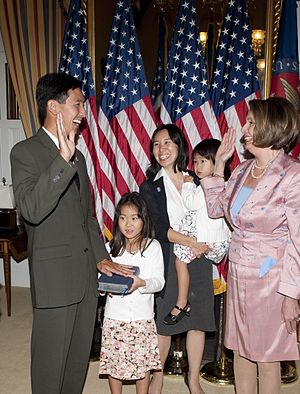 Charles Djou - Rep.Charles K. Djou (R-Hawaii), with his wife and daughters, being sworn-in by then US House Speaker Nancy Pelosi.