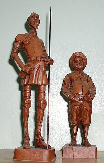 Statuettes of Don Quixote (left) and Sancho Panza (right). - Miguel de Cervantes