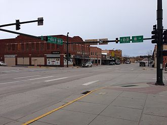 Lusk, Wyoming - Downtown. Intersection of US Highways 18, 20, and 85.