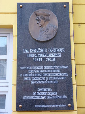 Sándor Kopácsi - Commemorative plaque of Sándor Kopácsi in Budapest District VIII, Corvin Alley No 1 (Corvin Movie Theater)