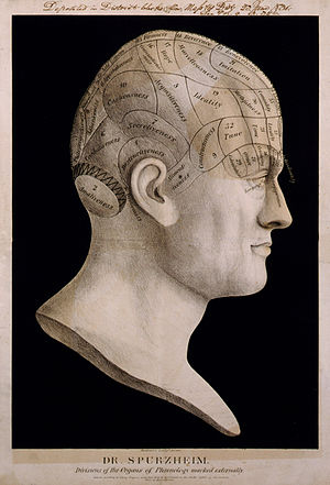 Johann Spurzheim - Phrenology chart attributed to Dr. Spurzheim. Lithograph submitted to the Library of Congress by Pendleton's Lithography, 1834.