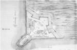 Drawing for a Fort at the Mouth of the Strait of Magellan by Tiburcio Spanoqui circa 1584.png