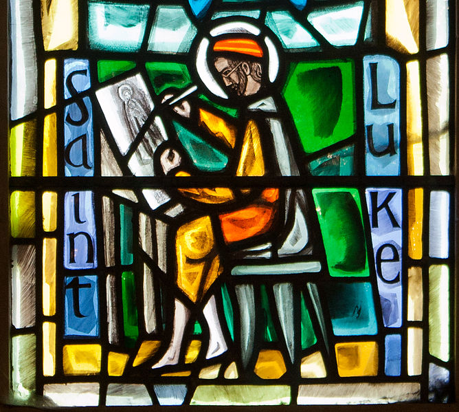 File:Dublin Christ Church Cathedral Chapel of Laurence O'Toole Window Virgin and Child with Saint Luke by Patrick Pollen Detail 2012 09 26.jpg