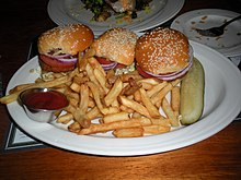Dungeness Crab And Shrimp Cake Sliders With French Fries