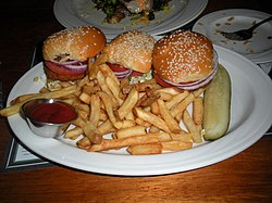 Dungeness crab and shrimp cake sliders (Los Gatos Brewing Company).jpg