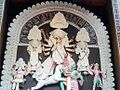 Durga Mata kills buffalo demon Mahishasura in this traditional representation at a Durga Puja pandal in West Bengal.jpg