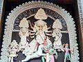 Durga Mata kills buffalo demon Mahishasura in this traditional representation at a Durga Puja pandal in West Bengal.jpg