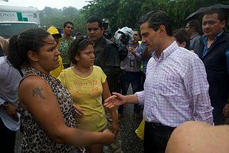 Hurricane Manuel - President Enrique Peña Nieto and Secretary of the Interior Miguel Ángel Osorio Chong visit affected zones around Acapulco de Juárez on 16 September 2013.