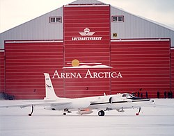 ER-2 809 outside Arena Arctica hangar in Kiruna, Sweden prior to the SAGE III SOLVE (EC00-0037-5).jpg