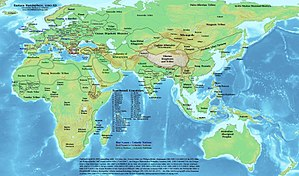 Khwarezm - Political map of Asia, Europe and Africa around 1200 AD showing the Khwarezmid Empire in dark green