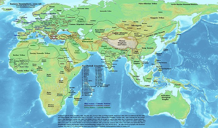 Eurasia on the eve of the Mongol invasions, c. 1200 East-Hem 1200ad.jpg