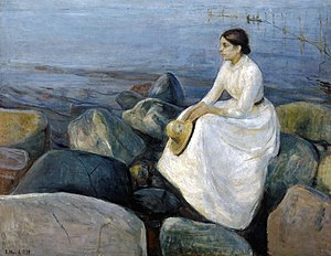 Inger on the Beach - Image: Edvard Munch Summer night, Inger on the beach (1889)