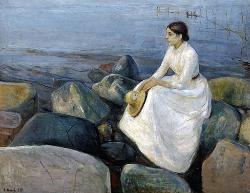 Edvard Munch - Summer night, Inger on the beach (1889)