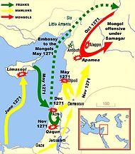 De gevechten in het Oosten in 1271: kruisvaarders (groen), Mamelukken (geel) en Mongolen (rood)