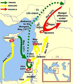 Mongol invasions of the Levant - The Mamluks under Baibars (yellow) fought off the Franks and the Mongols during the Ninth Crusade.