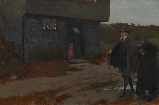 At the Cottage Door (17th Century New England Scene)