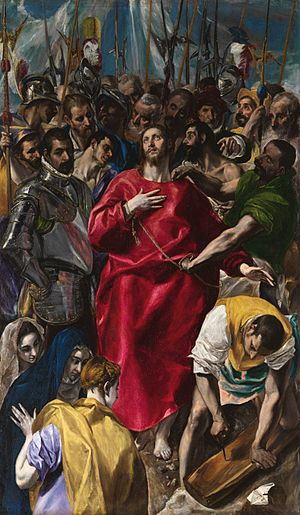 Art of El Greco - The Disrobing of Christ (El Expolio) (1577–79, oil on canvas, 285 x 173 cm, Sacristy of the Cathedral, Toledo) is one of the most famous altarpieces of El Greco. El Greco's altarpieces are renowned for their dynamic compositions and startling innovations.