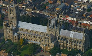 Hervey le Breton - Ely Cathedral from the air. The transepts, or the short wings crossing in the middle of the long axis of the building, date from before Hervey's time as bishop.