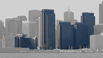 Embarcadero Center - Highlighted: Hyatt Regency at left and four towers. Not shown: Le Méridien hotel, located behind the other buildings, toward the right of the rightmost highlighted tower.
