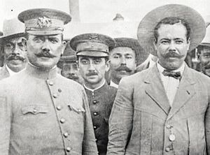 Emilio Madero - Emilio Madero (center) between Álvaro Obregón (left) and Pancho Villa (right) at Fort Bliss on 27 August 1914