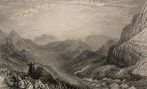 Masei - Encampment of Israelites, Mount Sinai (1836 intaglio print after J. M. W. Turner from Landscape illustrations of the Bible)