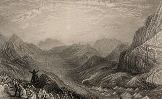 Masei - Encampment of Israelites, Mount Sinai (1836 intaglio print after J. M. W. Turner from Landscape illustrations of the Bible)