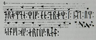 Scanian Law - Last phrase of Codex Runicus, which differs from the Latin letter version. It's a melody, which for decades has been used by Danmarks Radio as a pause signal