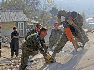 Pakistan–Poland relations - Polish military engineers carrying out humanitarian aid after the 2005 Pakistan earthquake.