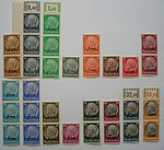 "German stamps of Hindenburg marked with ""Elsaß"" (1940)"