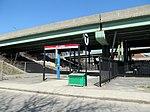 Entrance to JFK UMass station from Sidney Street, April 2016.JPG