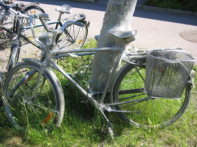 ermine moth larva on a Swedish Army Bike