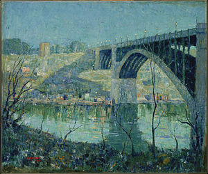Washington Bridge - Image: Ernest Lawson Spring Night, Harlem River Google Art Project