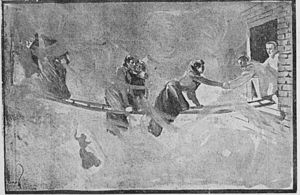 Iroquois Theatre fire - Theatergoers climbing along ladders above the alley (artist's conception).