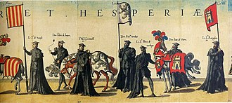 Heraldry of León - Banner and caparison with the arms of León (between Aragon and Castile) in the funeral obsequies of Charles V in Brussels, 29th December 1558, by Hieronymus Cock