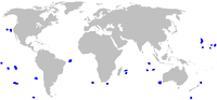 Range of pygmy shark (in blue)