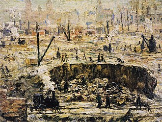 Pennsylvania Station (1910–1963) - Depiction of the excavation of the station foundation, from Ernest Lawson