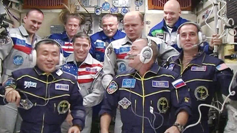 File:Expedition 38 crew members are welcomed.jpg