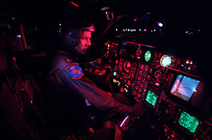 F-111 cockpit prior to a night flight.