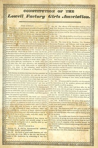 Timeline of labor issues and events - 1836 Constitution of the Lowell Factory Girls Association