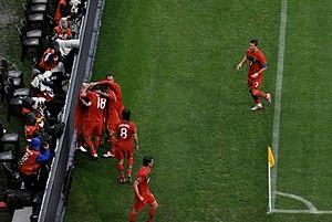 Seleção Portuguesa a festejar um golo frente à Coreia do Norte a 21 de  Junho de 2010 485f5840ff96b