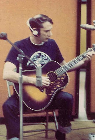 John Fahey (musician) - Fahey in studio with Recording King guitar, c. 1970