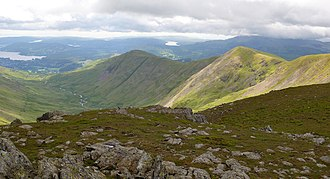 Fairfield (Lake District) - The view south-southwest over Heron Pike and Great Rigg from Fairfield's summit.