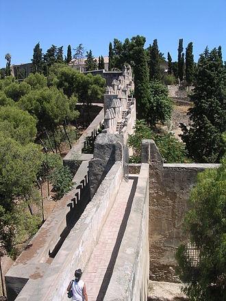 Gibralfaro - Restored double walled coracha terrestre to Castle of Gibralfaro from Alcazaba
