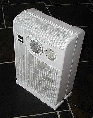 An electric fan heater.