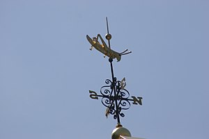 Faneuil Hall - The gilded grasshopper weather vane atop Faneuil Hall