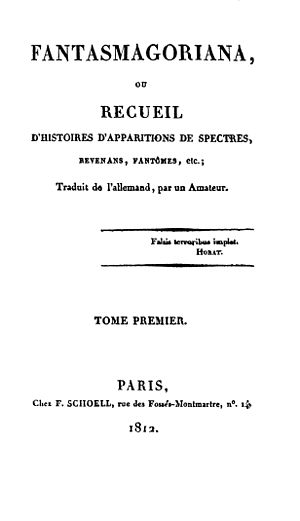Fantasmagoriana - First edition, volume 1 title page