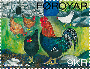 Stamp FO 604 of the Faroe Islands - Chicken