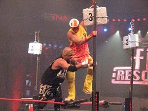 Feast or Fired - Homicide and Curry Man compete in the 2008 Feast or Fired match at Final Resolution. Curry Man claimed the briefcase shown in this picture, which contained a pink slip and resulted in his firing.